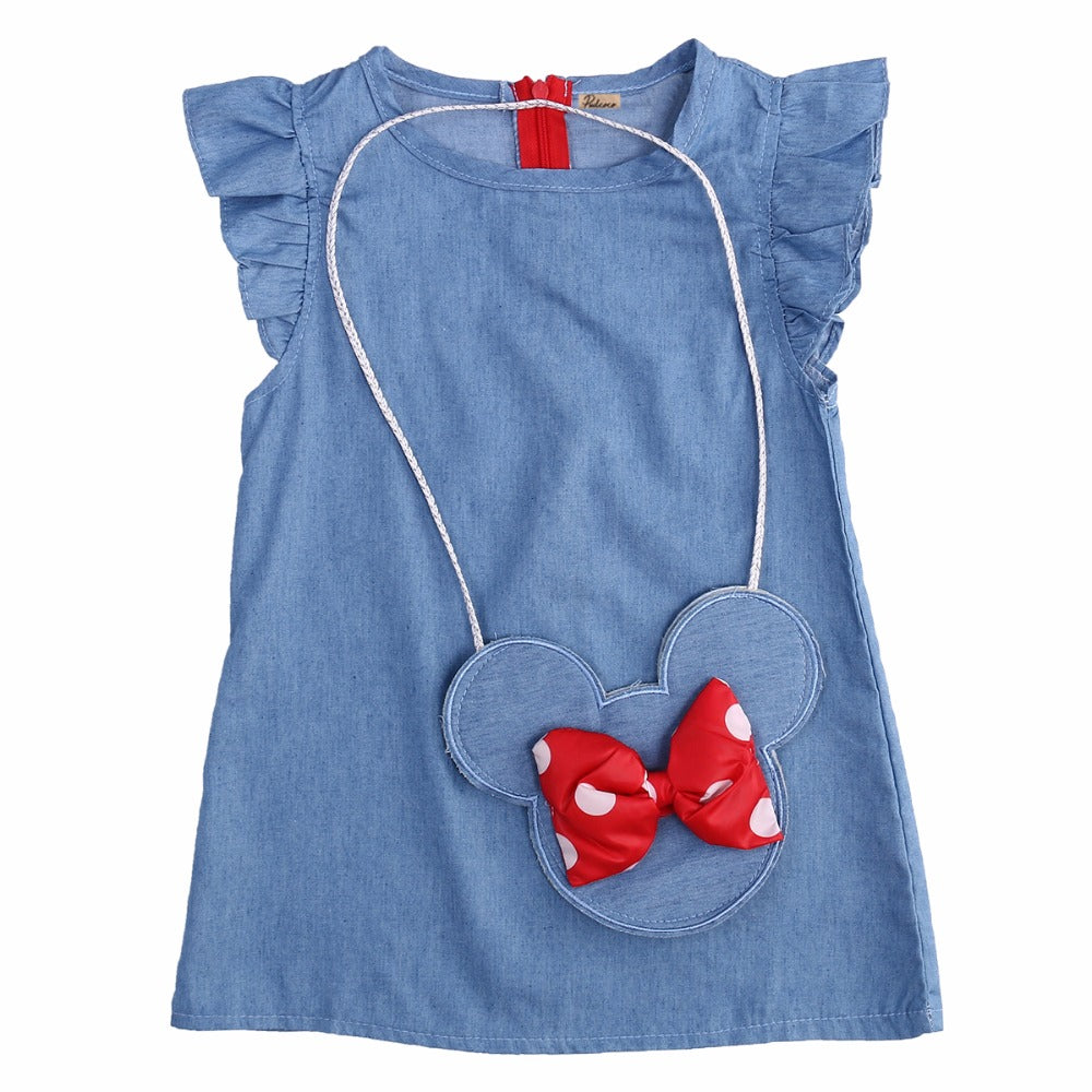 Denim Minnie Mouse Jean Dress With Matching Bag (2T-5T)