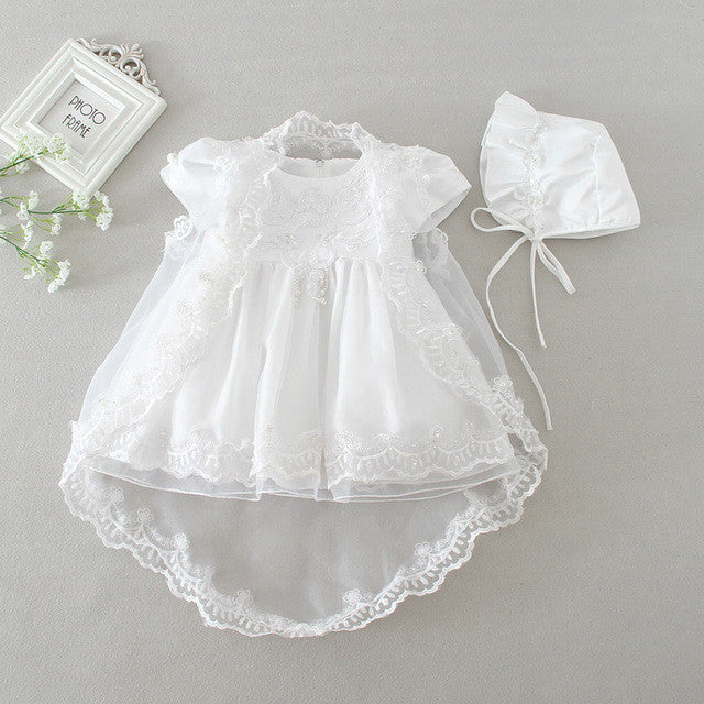 3PCS Christening Dress With Matching Hat & Shawl