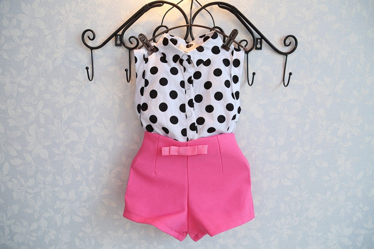 2-Piece Polka Dot Top & Short Set (Toddler & Little Girls)