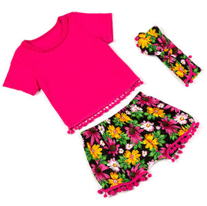 2-Piece Top & Short Set With Matching Headband