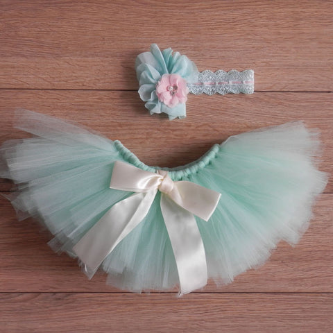 Colorful Tutu Baby Photo Prop (With Hair Accessory)