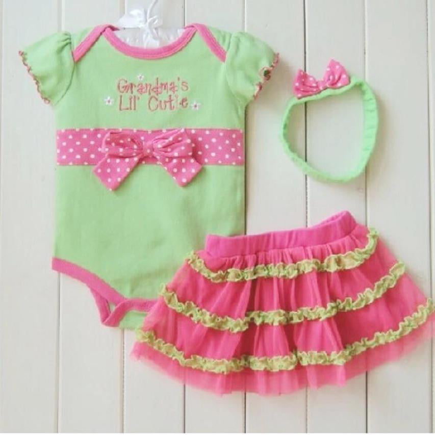 3-Piece Bodysuit With Skirt & Matching Headband