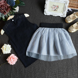 2-Piece Sleeveless Top & Stripe Skirt Set