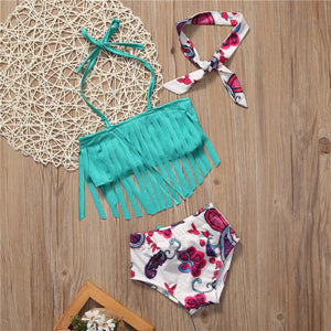 3 -Piece Tassel Swimsuit With Matching Head-Tie