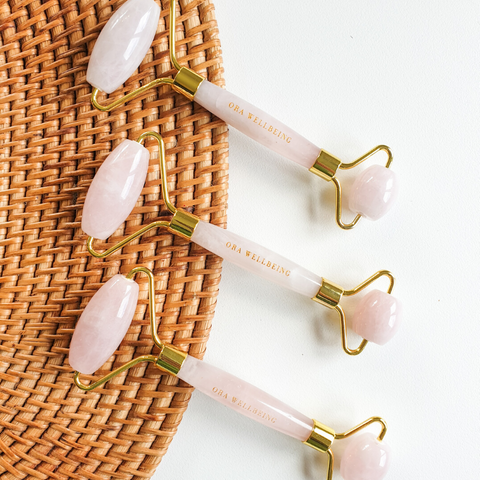 Rose Quartz Facial Roller Tool