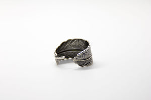 Silver Antique Feather Wrap Ring