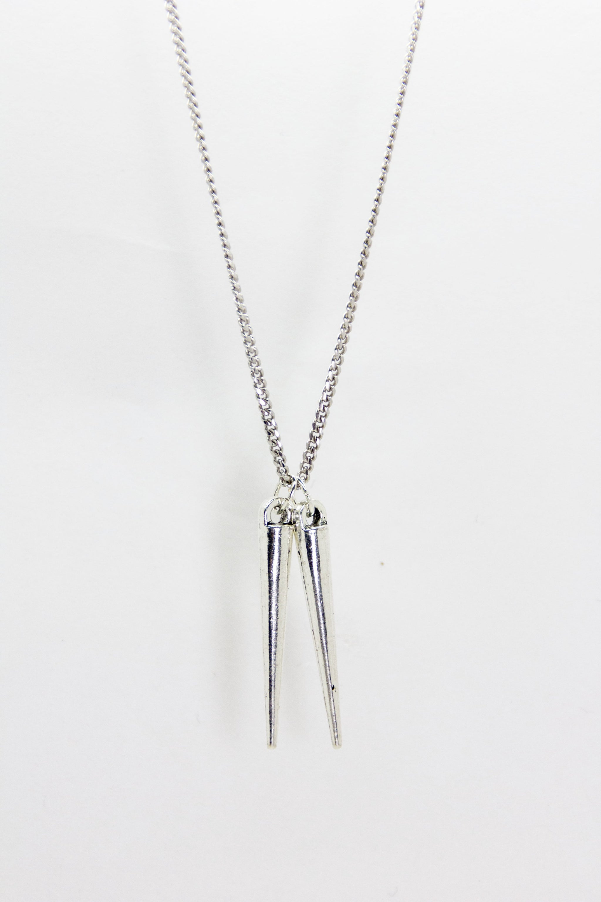 Silver Double Spike Necklace
