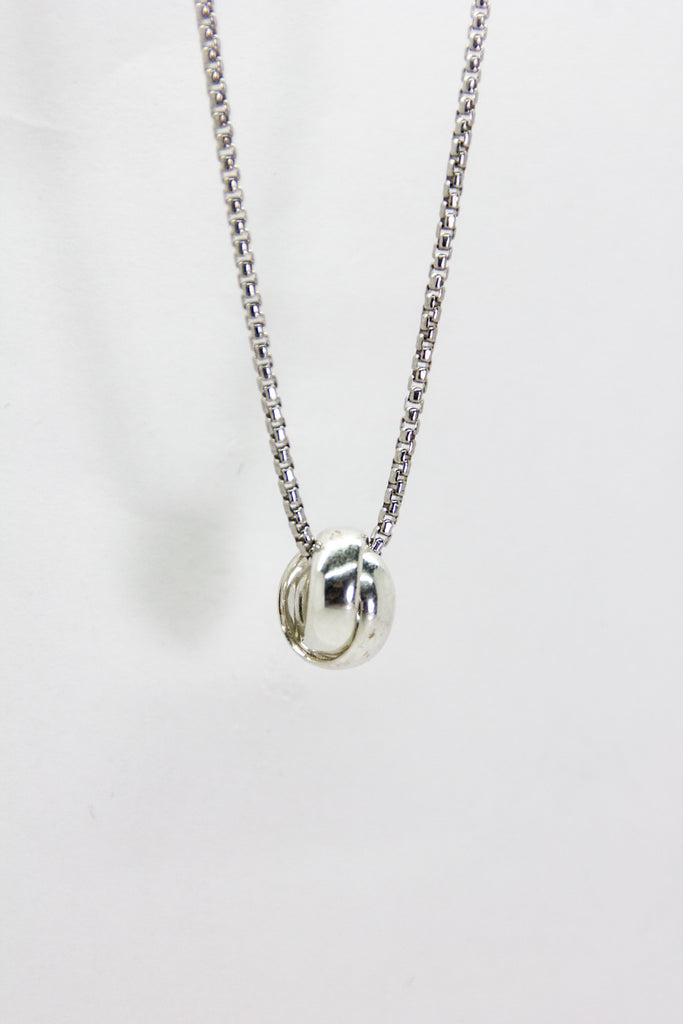 Silver Interlocking Ring Necklace