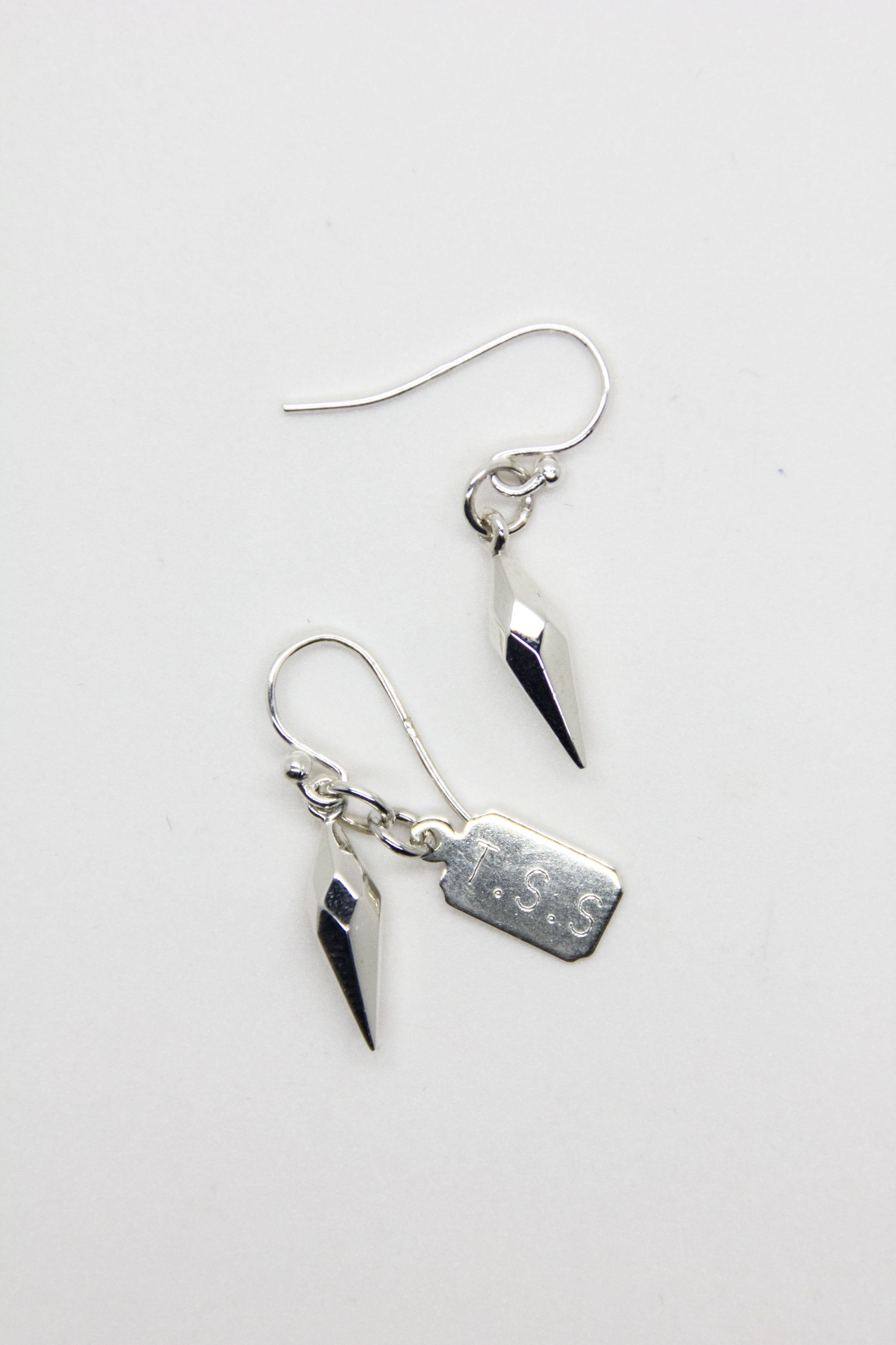 Silver Cylinder Spike Earrings