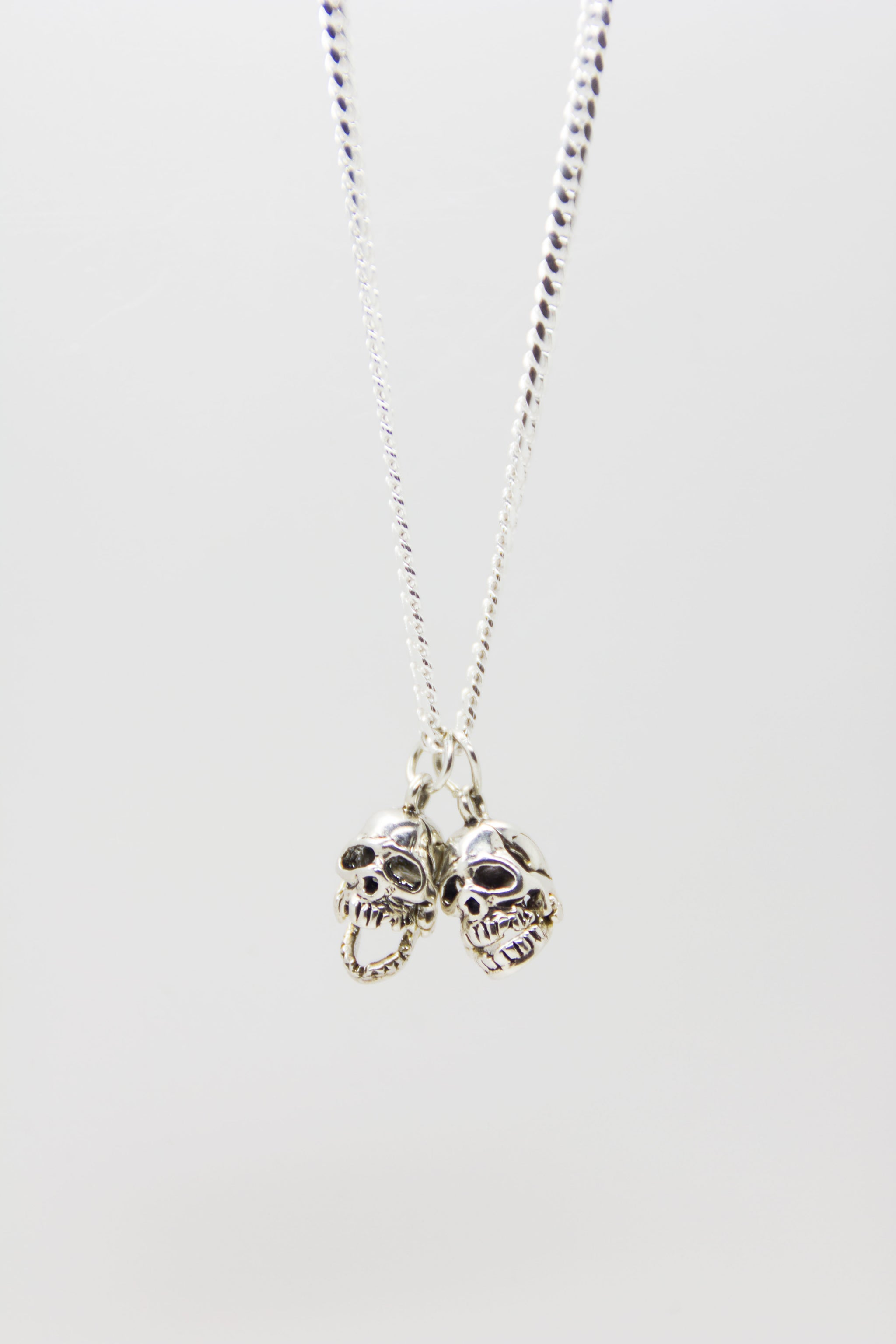 Silver Twin Skull Necklace