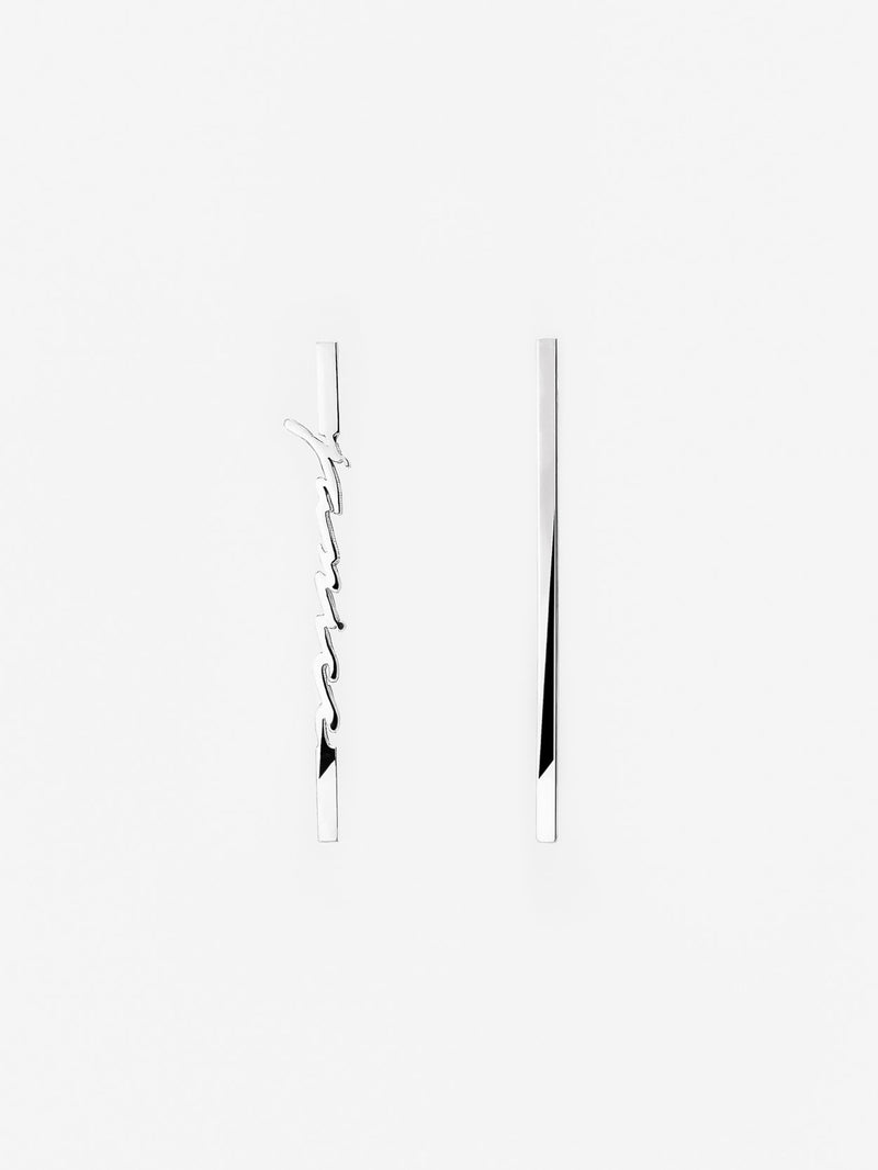 Vertical Script Bar Earrings
