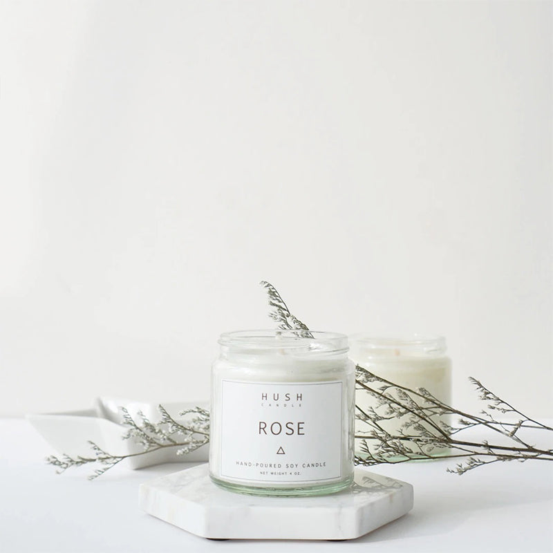Hush Candle Rose Essential Oil Candle