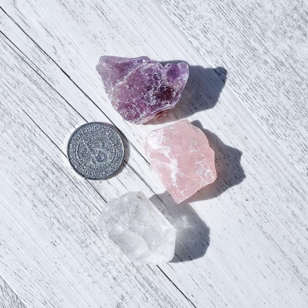 Mini Rough Set | Clear Quartz, Rose Quartz & Amethyst Crystals