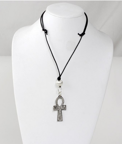 SILVER ANKH NECKLACE- 2 INCHES - AFRO'TIQUE