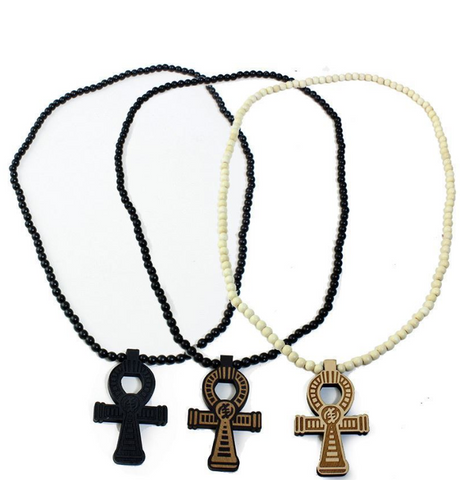 BEADED WOOD GYE NYAME ANKH NECKLACE - AFRO'TIQUE