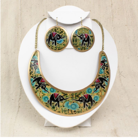 EMPRESS NECKLACE AND EARRING SET: ELEPHANT - AFRO'TIQUE