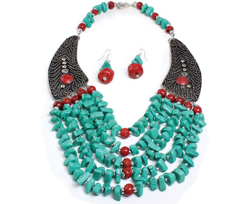 BEADED TURQUOISE WINGED NECKLACE SET - AFRO'TIQUE