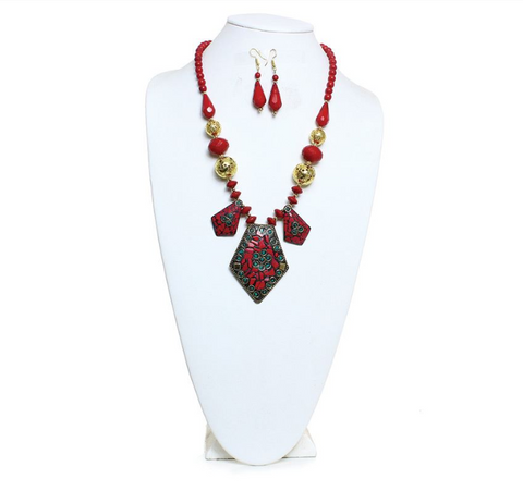 IMPERIAL PENDANT NECKLACE AND EARRING SET - AFRO'TIQUE
