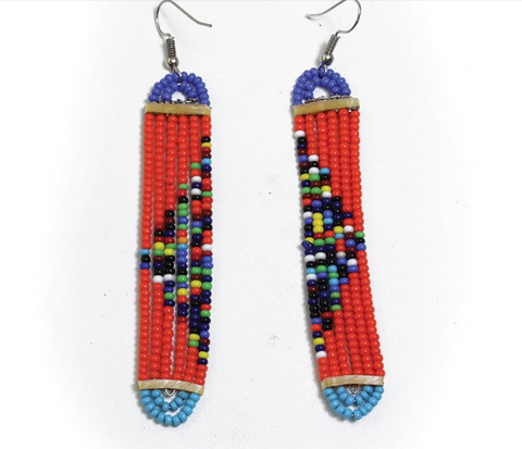 MASSAI LONG SLIM EARRINGS - AFRO'TIQUE
