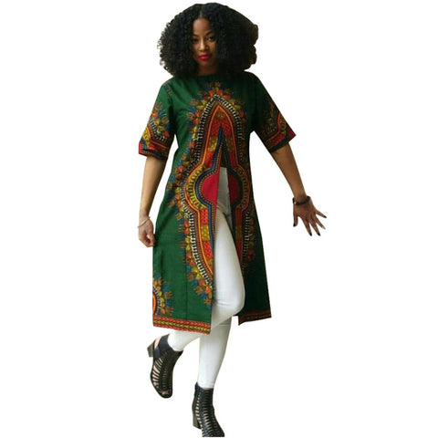 African Traditional Women Clothing Dashiki Print Women Dress Short Sleeve Front Slip T Shirt Tops Dresses Vestidos - AFRO'TIQUE