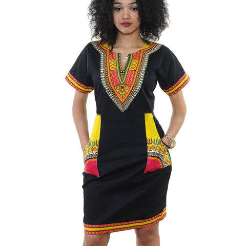 2016 New Summer Dress Sexy Mini African Tranditional Print Dashiki Dress Ladies Dresses Folk Art African Women Dress Clothing - AFRO'TIQUE