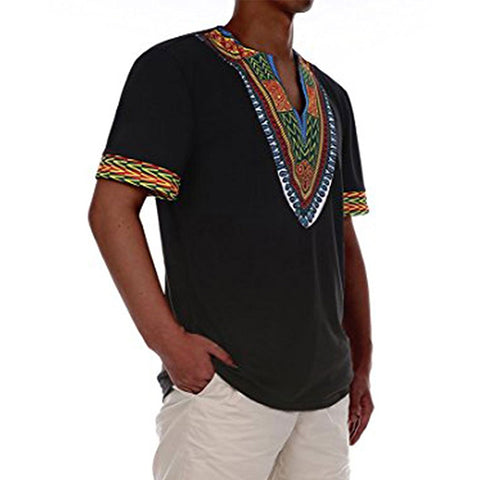 2018 Casual short sleeve Dashiki Shirt - AFRO'TIQUE
