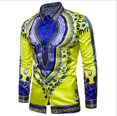 Loose Edition Men's Printing Long Sleeve Shirt - AFRO'TIQUE