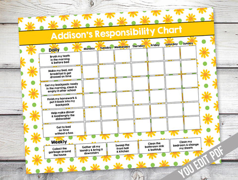 chore chart for girls, daisy chore chart, interior design charts