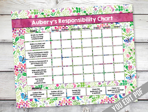 chore chart for girls, floral chore chart design
