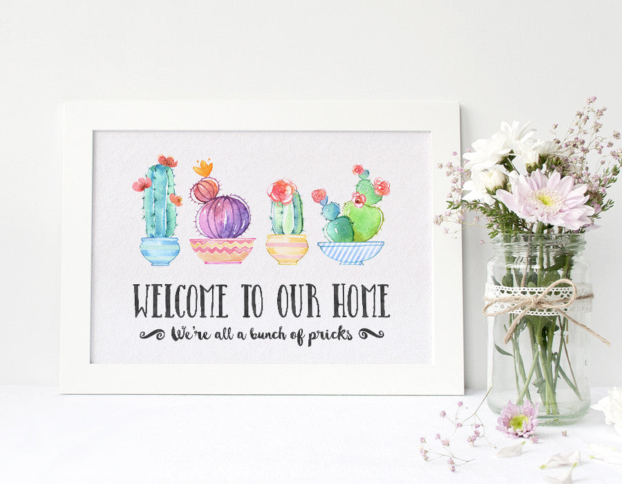 Cactus Decor Welcome Wall Art - Family of 4 V2 – SugarPickle Designs