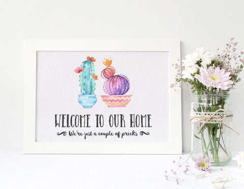 Cactus Couple Welcome Wall Art