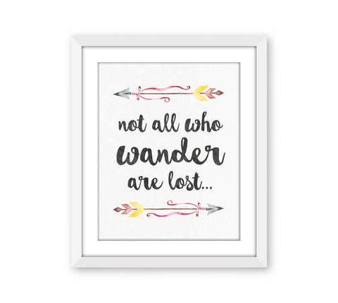 Inspirational Wall Art - Not all who Wander are lost – SugarPickle ...