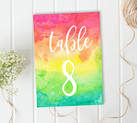 Colourful Wedding Reception Table Numbers