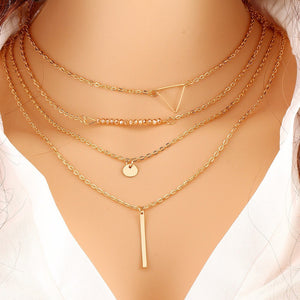 High Fashion 4 layered necklace (Gold)