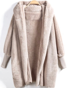 Cuddly Hooded Loose Cardigan