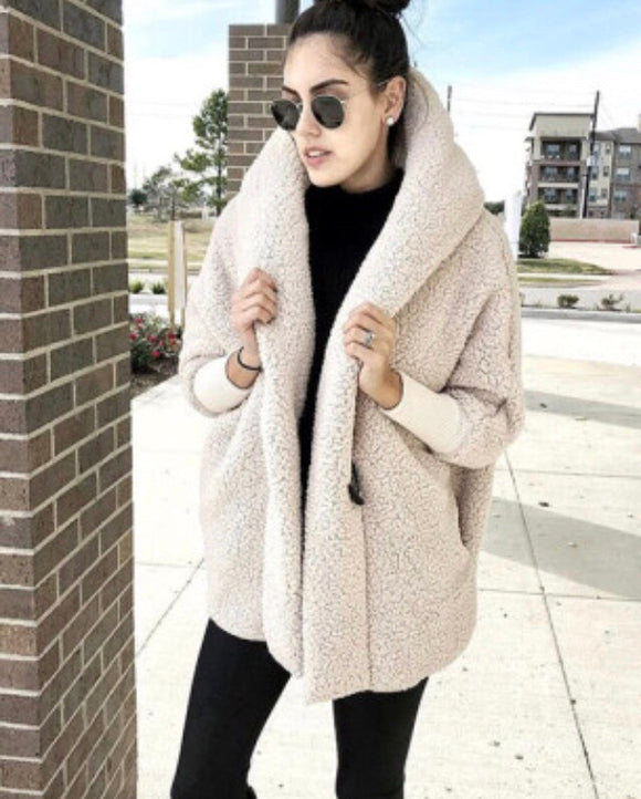 Traveling Khaki Faux Fur Coat. (Button)