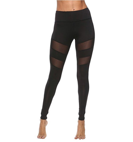 Fitness Striped Mesh Leggings