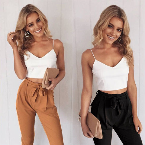Ruffle Waist Pencil Pants