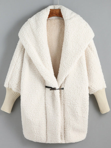 Cuddly Hooded Batwing Sleeve Loose Cardigan