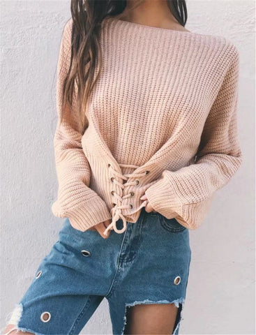 Lace Up Knit Pullover Sweater