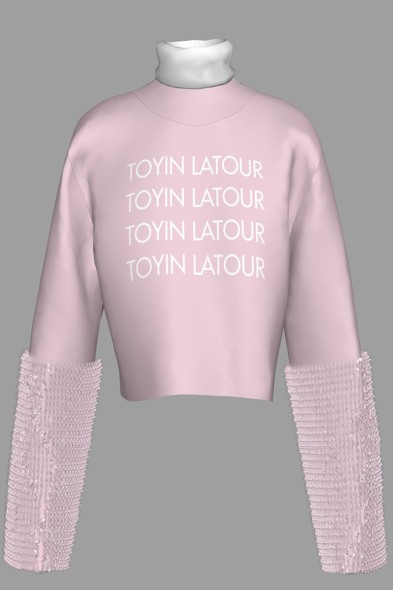 Pink Fur Turtleneck Sweatshirt