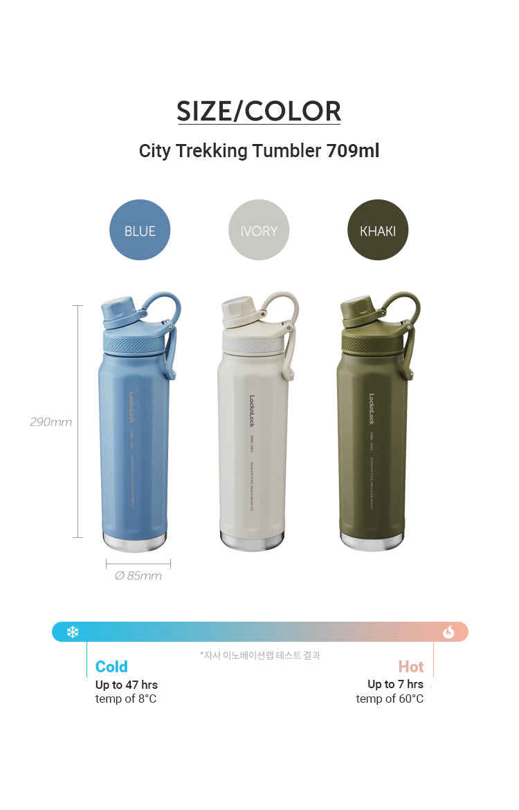 LocknLock City Trekking Tumbler 704 ml | Double Wall, Spout-Type Outdoor Tumbler with Handle