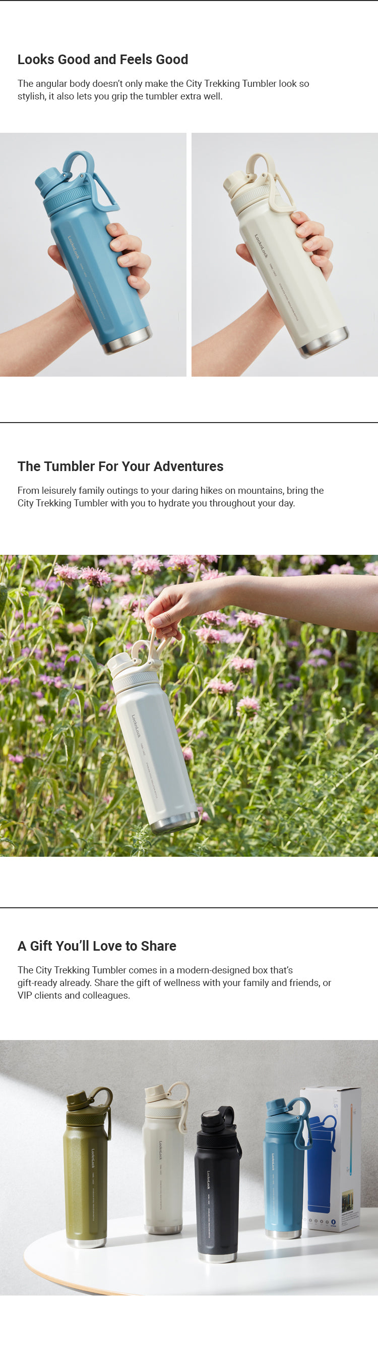 LocknLock City Trekking Tumbler 709 ml | Double Wall, Spout-Type Outdoor Tumbler with Handle