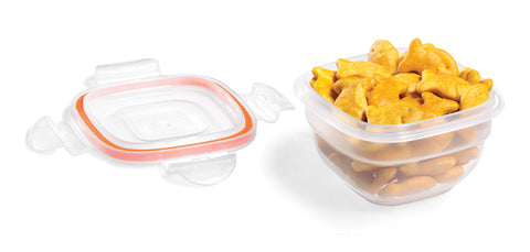 Easy Match Square Bowl Food Container 100mL (Orange Silicone)