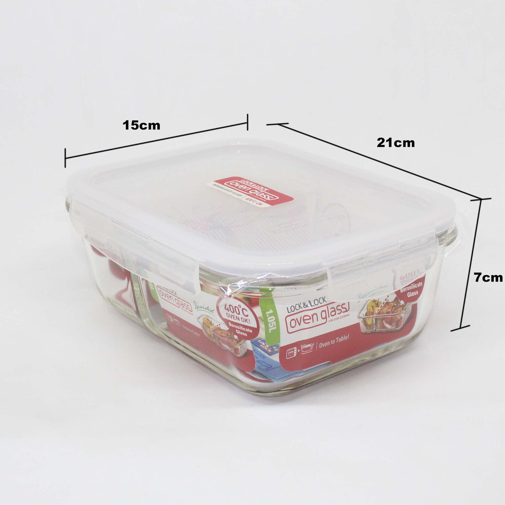 Lock and Lock Ovenglass Euro Rectangular 1130ml LLG447D