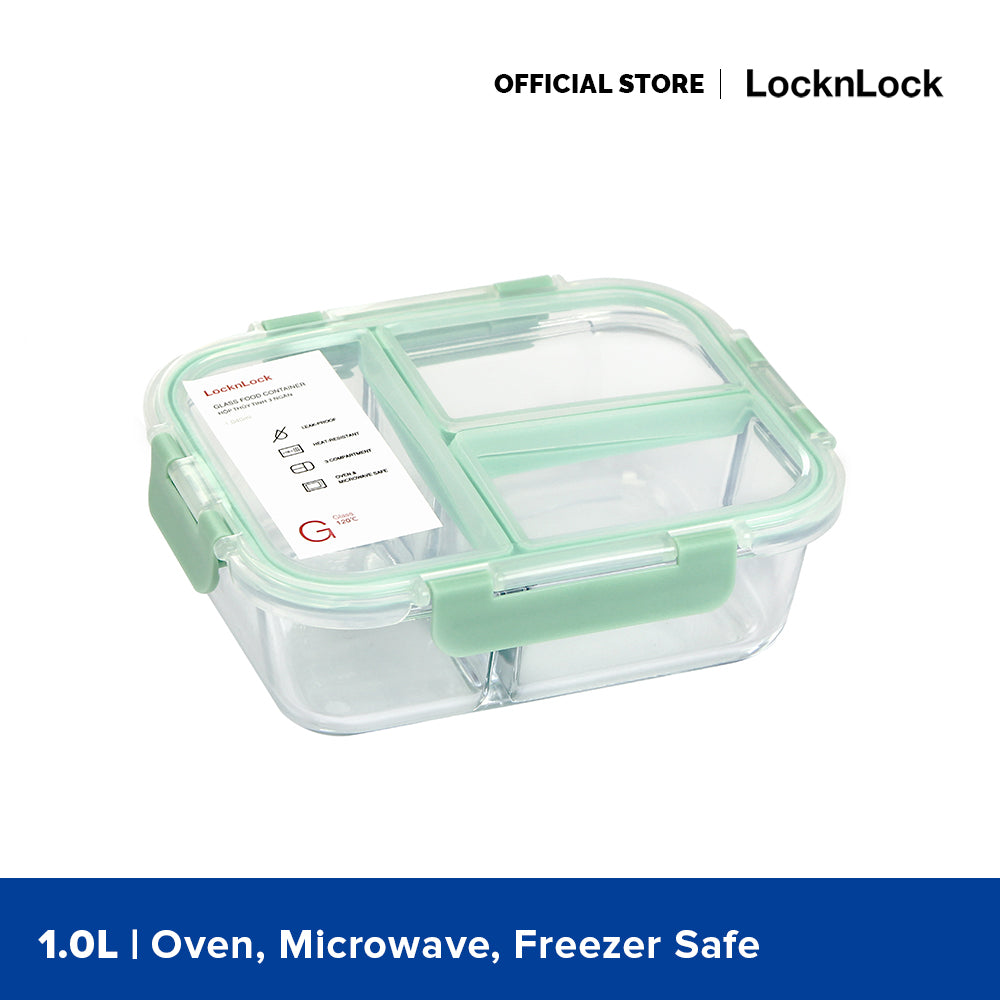 Lock and Lock Oven Glass Divider Container Rectangular 1040ML (3 compartments) Brown LLG458