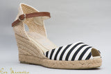 Navy|White strip wedge Espadrille