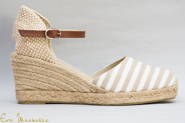 Beige|White strip wedge Espadrille