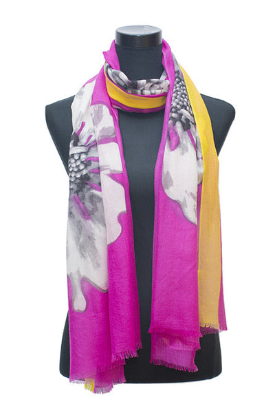 Yellow - Pink Floral Scarf