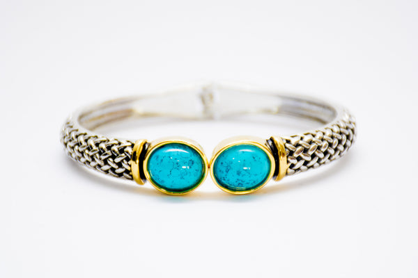 Turquoise duo-stone cuff bangle